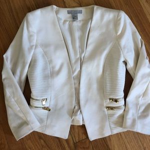 White cropped blazer with side zip detail